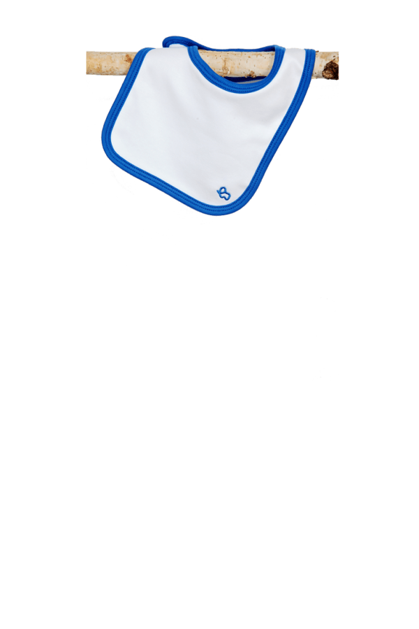 white blue bib
