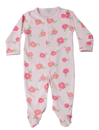 Baby Noomie - Pima Cotton - clothing - girls - boys - baby clothing - baby girl flowers footie