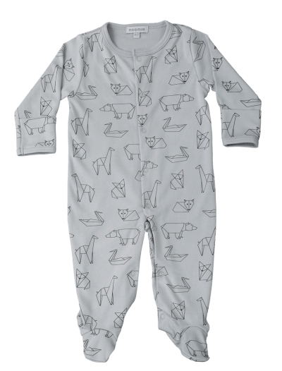 Baby Noomie - Pima Cotton - clothing - girls - boys - baby clothing - baby boy gray origami pajaama