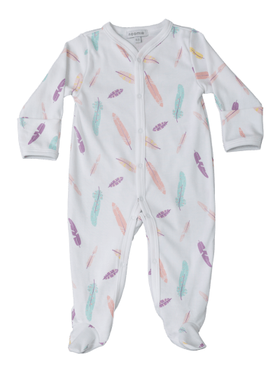 baby girl footie feathers