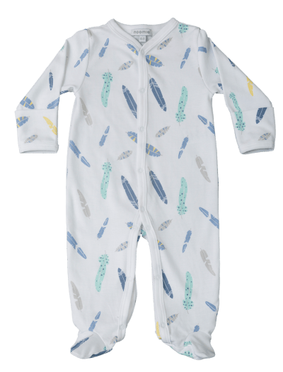 baby boy feather footie