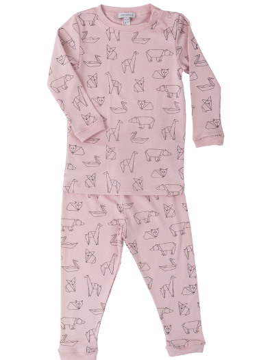 Baby Noomie - Pima Cotton - clothing - girls - boys - baby clothing - pajama girl origami pink