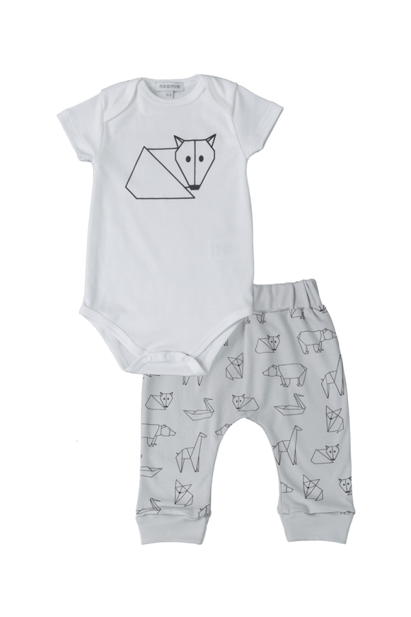 Baby Noomie - Pima Cotton - clothing - girls - boys - baby clothing - baby boy pants onesie set origami