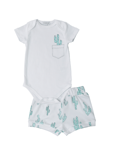 Baby Noomie - Pima Cotton - clothing - girls - boys - baby clothing - onesie short green cactus boy