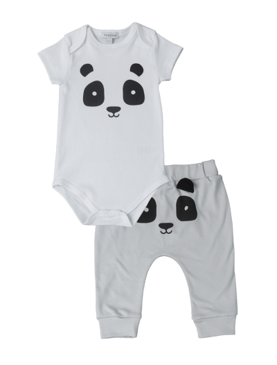 Baby Noomie - Pima Cotton - clothing - girls - boys - baby clothing - boy pants onesie set panda