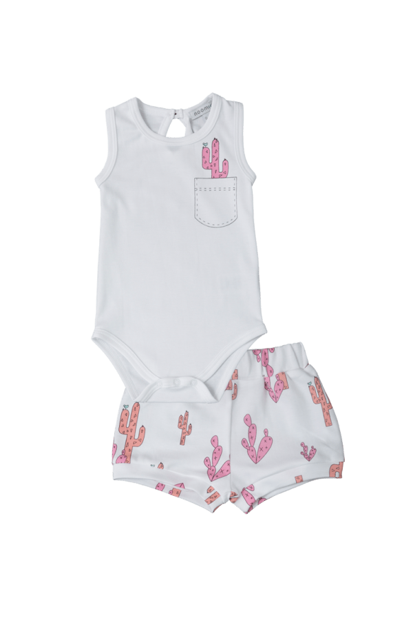 Baby Noomie - Pima Cotton - clothing - girls - boys - baby clothing - onesie short set pink cactus girl
