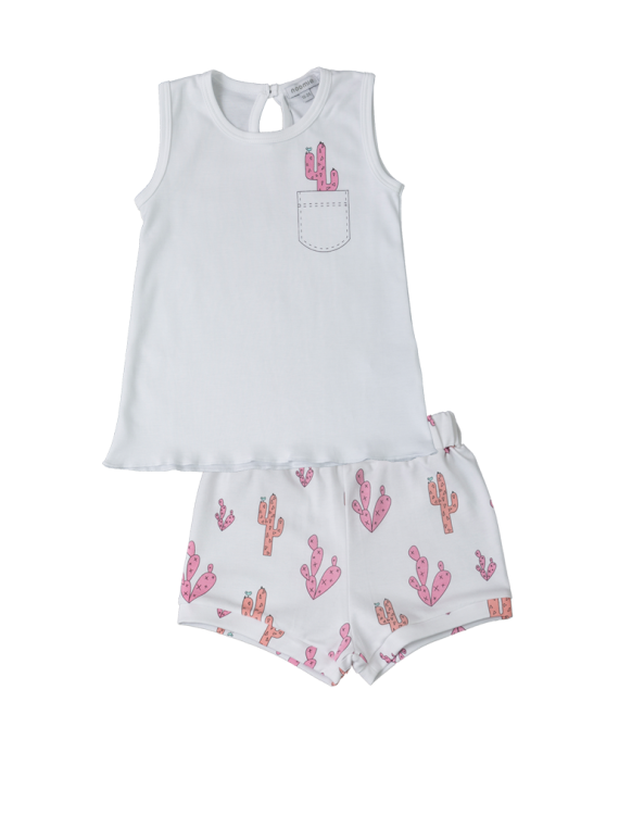 Baby Noomie - Pima Cotton - clothing - girls - boys - baby clothing - baby girl pink cactus onesie short set