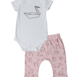 Baby Noomie - Pima Cotton - clothing - girls - boys - baby clothing - baby girl origami pant onesie set