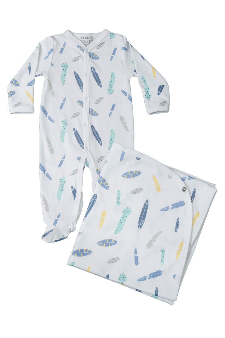 Blue Feathers Layette Set Baby Noomie Pima Cotton Clothing For