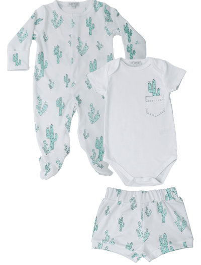 Baby Noomie - Pima Cotton - clothing - girls - boys - baby clothing -footie short onesie green cactus