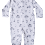 black white bicycle scooter baby boy pajama