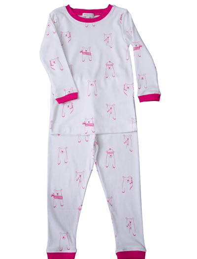 pima cotton, pink white girl pajamas,